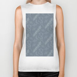 Blue gray white hand painted winter floral berries Biker Tank