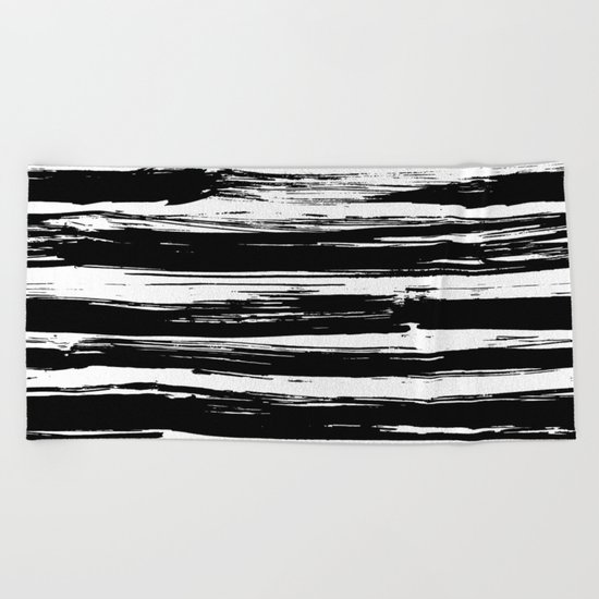 Paint Brush Stripes Black and White Beach Towel