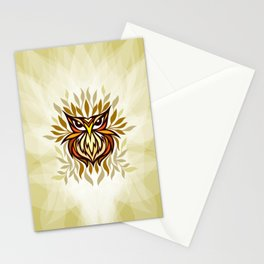 Staring Owl - Creative Tribal Style Mirror Graphic of Bird Stationery Cards