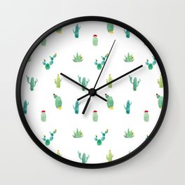 Summer pattern with cacti and yellow cats ! Wall Clock