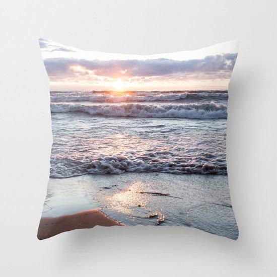 Crashing waves and a golden sunset Throw Pillow