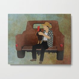 Rooster man and his pick up truck Metal Print