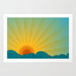 Vintage Ocean Sunset Art Print