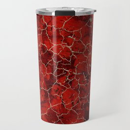 Red marble and golden craquelure Travel Mug