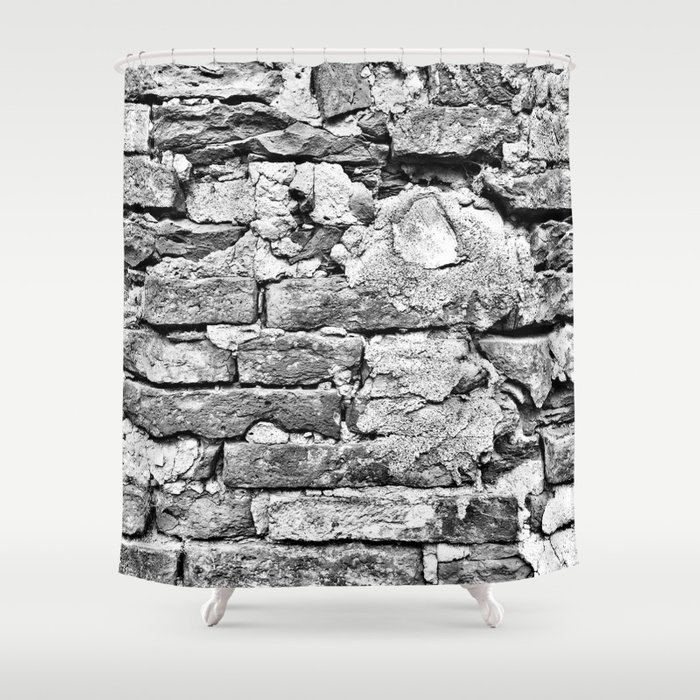 Tuscan Brick Wall Shower Curtain By Bluelavaart