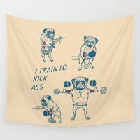 workout Wall Tapestries featuring Pug Workout by Huebucket