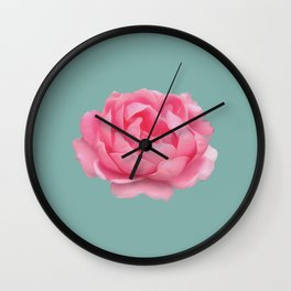 Rose on mint Wall Clock