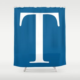 Serif T. White on Blue. Shower Curtain