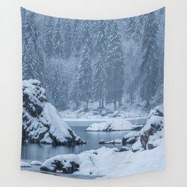 Heavy snow fall lake Fusine, Italy Wall Tapestry