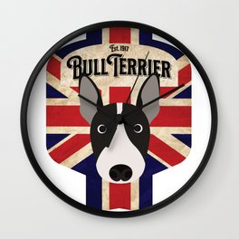 English Bull Terrier - Distressed Union Jack Beer Label Design Wall Clock