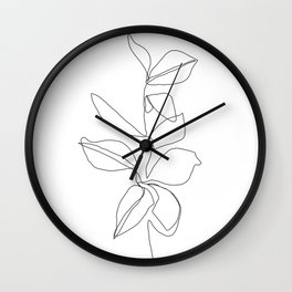 One line minimal plant leaves drawing - Birdie Wall Clock