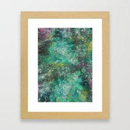 A galactic ocean -Green- Cosmic Painting Art Framed Art Print