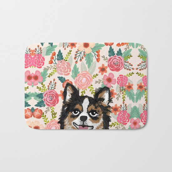Chihuahua florals flowers spring blooming garden pet portraits dog breed custom gifts for dog person Bath Mat