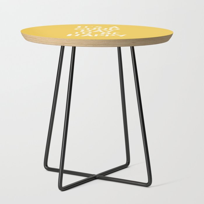 Its_a_Good_Day_to_Be_Happy__Yellow_Side_Table_by_Blue_Sky_Whimsy__Black__Round