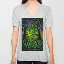 Stained glass Forest Unisex V-Neck