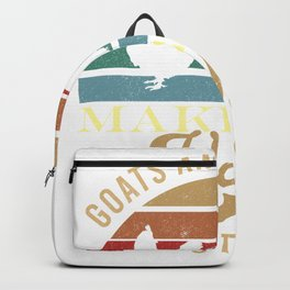 Goat Chicken Happy Funny Goat Lover Retro Farming Herder Backpack