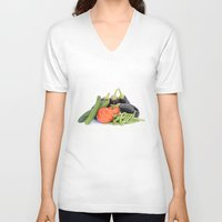 vegetables V-neck T-shirts featuring Vegetables together by Carlo Toffolo