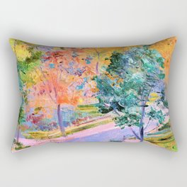 Stanislaw Wyspianski - View of the Municipal Theatre Krakow from Zacisze Street - Digital Remastered Edition Rectangular Pillow