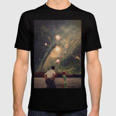 Light Explosions In Our Sky Black Mens Fitted Tee MEDIUM