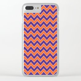 Orange and purple clemson chevron stripes university college alumni football fan gifts Clear iPhone Case