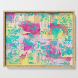Abstract Mixed Media - Neon Serving Tray