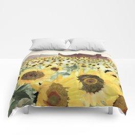 Cretaceous Period Sunflower Field Comforters