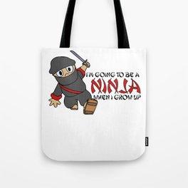 Be a Ninja When I Grow Up Ninja Cute Kids Youth Tote Bag