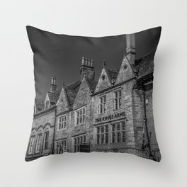 Stow-on-the-Wold Market Square Black and White Dynamic Historic Cotswolds Throw Pillow