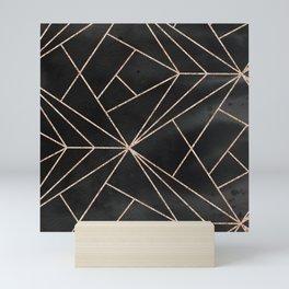 Elegant modern black rose gold watercolor geometrical pattern Mini Art Print