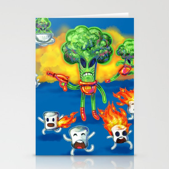 Veggie Attack Stationery Cards
