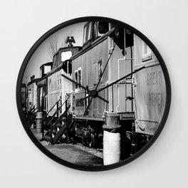Railroad Cars_BW Wall Clock
