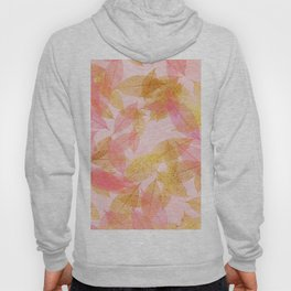 Autumn - world - gold leaves on pink Hoody