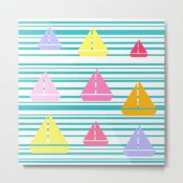 Sea U Boats & Stripes Metal Print