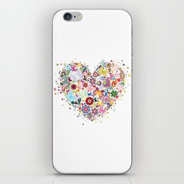 Heart of flowers and butterflies iPhone Skin