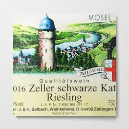 Vintage Zeller Schwarze Katz Riesling Black Cat Wine Bottle Mosel Label Print Metal Print