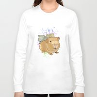 pigs Long Sleeve T-shirts featuring Guinea Pigs by Adamzworld