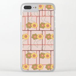 Squares and flowers Clear iPhone Case