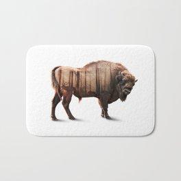 Bison Double-exposure art Bath Mat