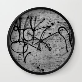 graffiti on brick Wall Clock