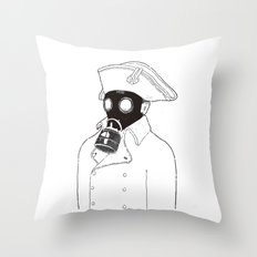 Napoleon with a gas mask. Throw Pillow