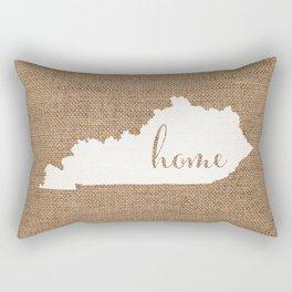 Kentucky is Home - White on Burlap Rectangular Pillow