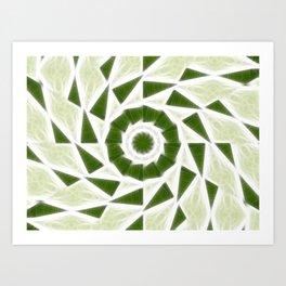 Green White Kaleidoscope Art 3 Art Print