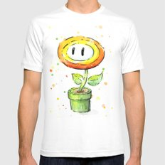 Fire Flower Watercolor Painting Mario Game Geek Art MEDIUM White Mens Fitted Tee