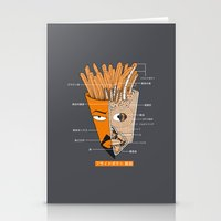french fries Stationery Cards featuring French Fries Anatomy by Pigboom Art