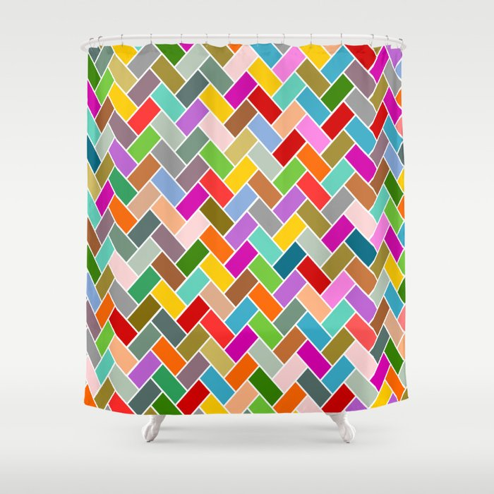 Colourful Tiled Mosaic Pattern Shower Curtain