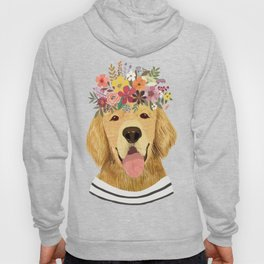 Golden Retriever Dog with Floral Crown Art Print – Funny Decoration Gift – Cute Room Decor – Poster Hoody