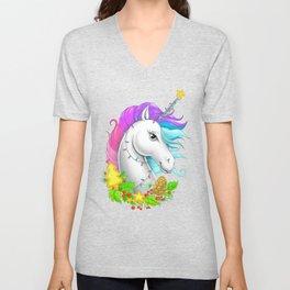 Xmas Unicorn Unisex V-Neck