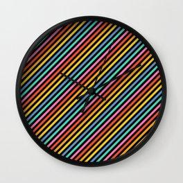 Diagonal Lines on Black Wall Clock