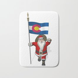 Santa Claus With Flag Of Colorado Bath Mat