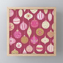 Christmas Vintage Ornaments Pink Framed Mini Art Print